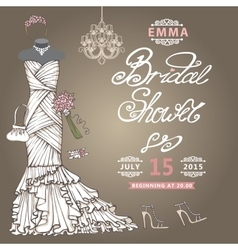 Bridal shower invitationcute wedding dress vector