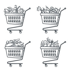 carts with sausages fruit vegetables and bakery vector image