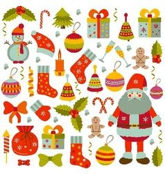 Christmas flat elements set vector