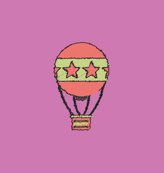 circus watercolor hot air balloon in hatching vector image