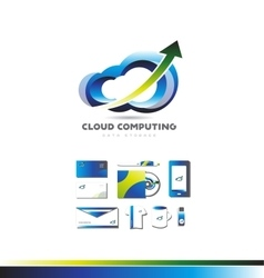 Cloud computing data storage technology logo vector