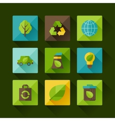 Ecology set of environment and pollution icons vector image vector image