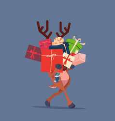 Elf holding gift boxes stack over gray background vector