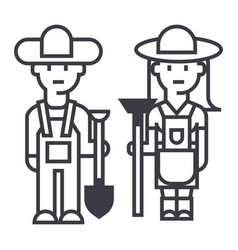 farmerswoman and man with tools line icon vector image vector image