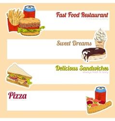 Fast food menu banner vector