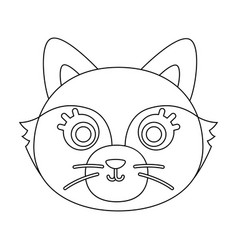 fox muzzle icon in outline style isolated on white vector image