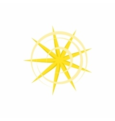Gold nine pointed star icon in cartoon style vector image
