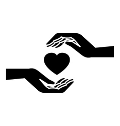 Hands holding heart icon simple style vector image vector image