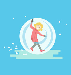 Happy girl having fun in a walking ball winter vector