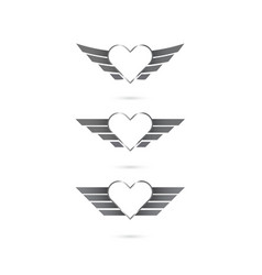 Heart logo with angel wings on background vector