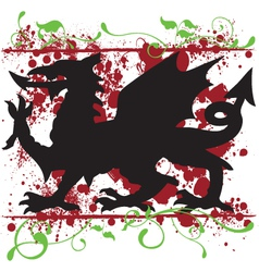 Heraldic welsh dragon design vector
