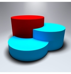 Infographic 3D pedestal with blue and red vector image vector image