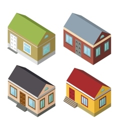 Isometric house set3D icons vector image