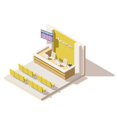 isometric low poly hospital reception vector image vector image