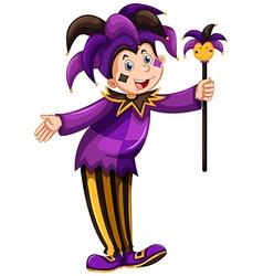Jester in purple costume vector
