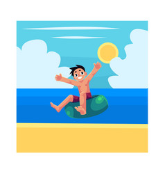 Kid boy child riding swim ring enjoying summer vector
