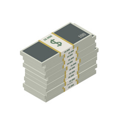 Large stack money in a pack vector