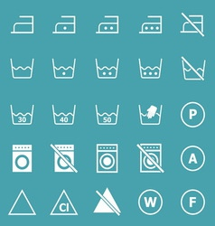 Laundry icons on blue background vector