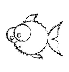 Monochrome sketch of blowfish with big eyes vector