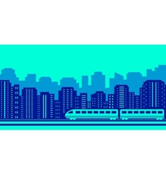 Moving train on blue urban landscaping vector