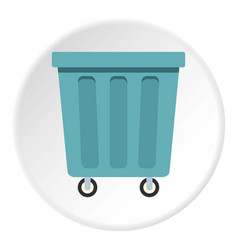 Outdoor blue trash can icon circle vector