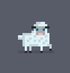 pixel art cute white sheep vector image vector image
