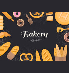 Products bakery on black background vector