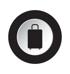 Round black and white button - suitcase icon vector