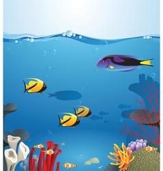 Sea landscape illustrating underwater life vector