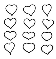 set of hand drawn sketch hearts grunge vector image vector image