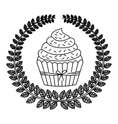 silhouette crown of leaves with cupcake with cream vector image vector image