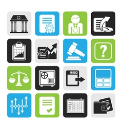 Silhouette stock exchange and finance icons vector
