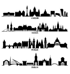 silhouettes of warsaw vienna prague and dublin vector image vector image