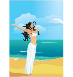 Strong woman on beach vector