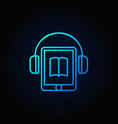 tablet with headphones blue icon vector image vector image