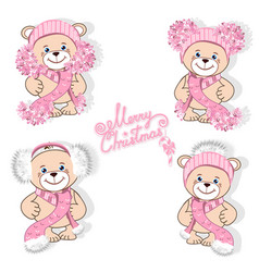 Teddy bear in hat set vector
