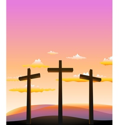 three crosses on the Calvary vector image