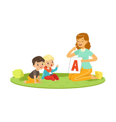 Woman with toddlers sitting on round carpet and vector