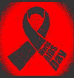 World aids day emblem red ribbon in grunge style vector