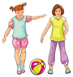 Girls with ball sketch vector