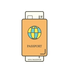 Passport and boarding pass ticket vector