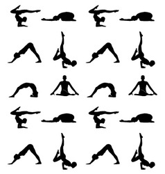 Yoga poses silhouette wallpaper vector
