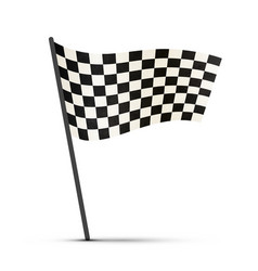Finish flag on a pole with shadow vector