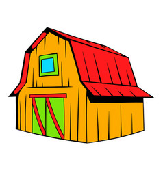 Wooden barn icon cartoon vector