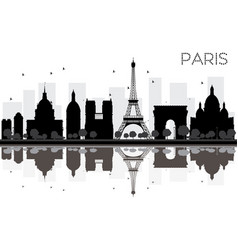 Paris city skyline black and white silhouette vector