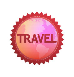 Logo for travel company round emblem with globe vector
