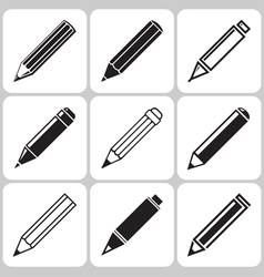 Pencil icons set vector