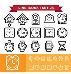 Clock line icons set 28 vector