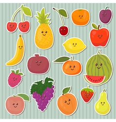 Cute cartoon fruits healthy food vector