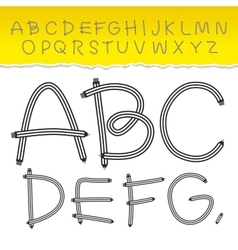 Alphabet from a to z and used pattern brushes vector
